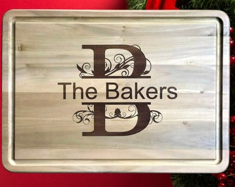Extra Large Personalized Hardwood Cutting Board with Groove, Wedding Gift, Anniversary Gift, Engagement Gift, Couples Gift