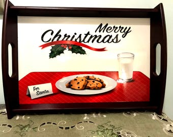 Santa's Cookies and Milk Serving Tray, Personalized Tray, Full Color Serving Tray, Christmas Gift, Christmas Serving Tray