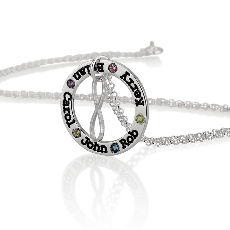 c6a29b31e206a Birthstone Engraved Names Necklace with infinity Sterling