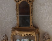 Dollhouse gold Mauve Louis XV style console and mirror . 1 12 Miniature shabby furniture vintage decor dollhuse.