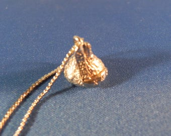 Vintage Candy Kisses Pendant Necklace Silver Tone Metal