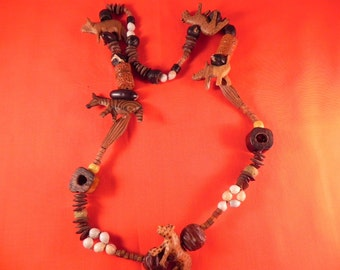 Vintage Safari Necklace and Clip Earrings Hand Carved Wood Safari Animals
