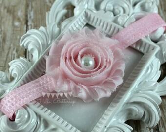 Pink Shabby Chic Headband, Polka dot headband, Flower Girl Headband, Baby headband, Newborn photo prop