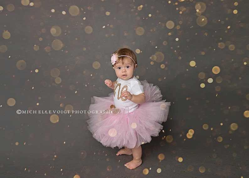 Girls first birthday outfit RTS Gold first birthday  Pink Tutu Cake smash tutu Gold Birthday Outfit
