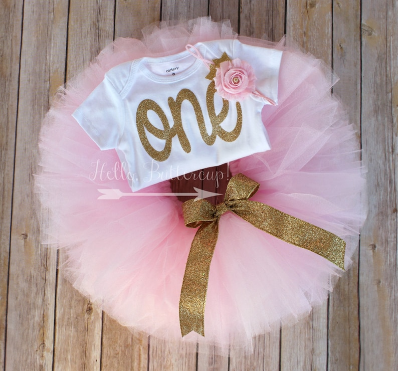 023f0e56a4f Gold first birthday bodysuit and Pink Tutu Glitter gold One