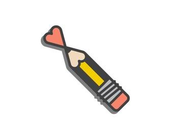 Pencil Heart - Enamel Pin