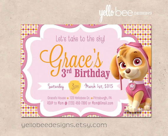 Paw Patrol Skye Birthday Invitation