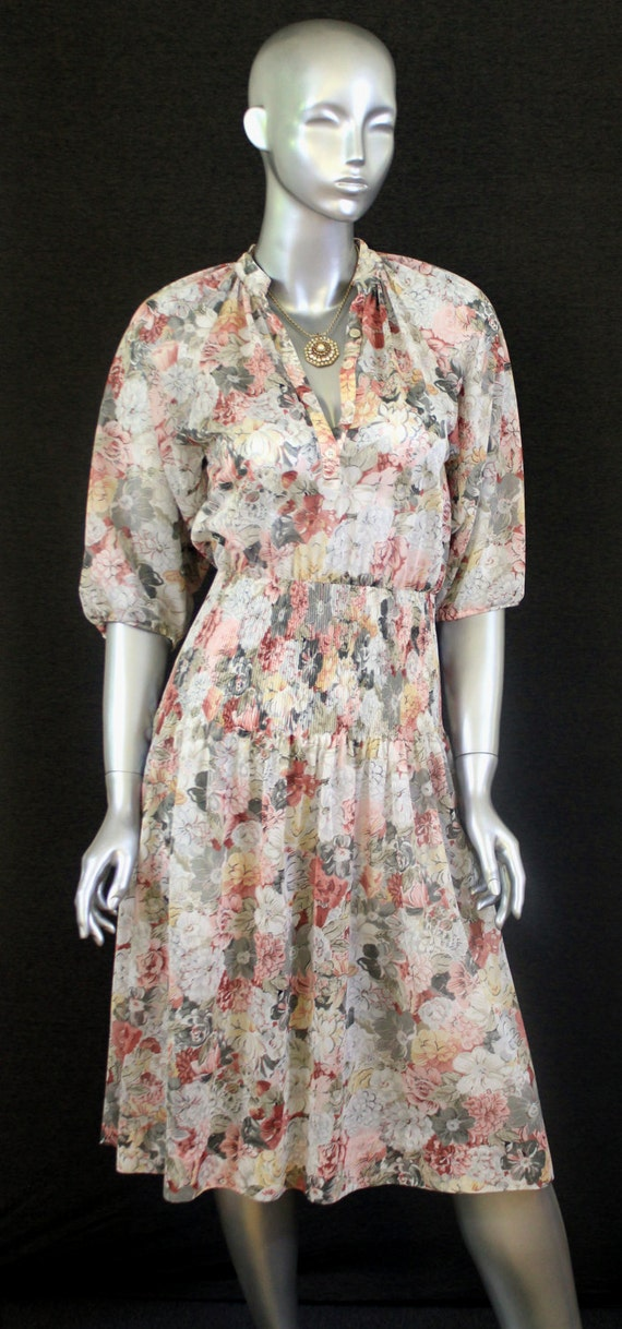 Vintage 70s 80s Semi Sheer Floral Muted Tones Dres