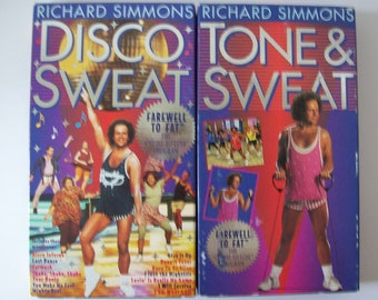 RICHARD SIMMONS Tone & Sweat and Disco Sweat VHS
