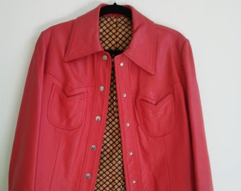 Vintage Red Leather Shirt Style Jacket