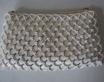 Vintage DORMAR Beaded Bridal Satin Clutch Purse White Made in Hong Kong