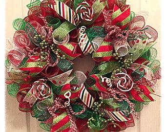 whimsical christmas deco mesh wreathchristmas wreathholiday wreathsred and lime christmas wreath