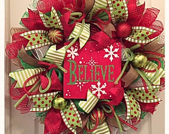christmas believe deco mesh wreathbelieve wreathchristmas wreathred and lime believe wreathbelieve christmas wreathwinter wreath
