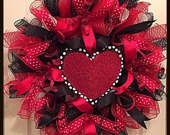 Happy Valentines Day Deco Mesh Wreath Valentines Day Etsy