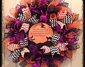 Halloween Cat, Witch and Bat Deco Mesh Wreath/Halloween Wreath/Halloween Cat Wreath/Halloween Witch Wreath