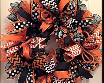 Halloween Orange and Black Deco Mesh Wreath/Halloween Wreath/Orange and Black Wreath/Fall Wreath/Autumn Wreath