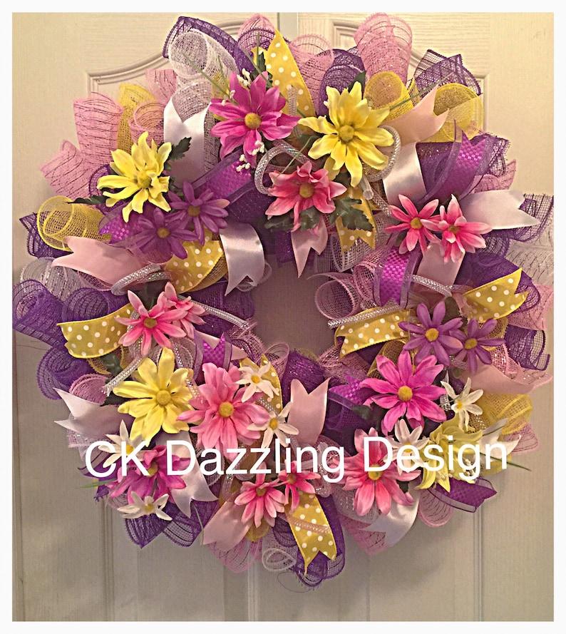 Daisy Pastel Deco Mesh WreathMothers Day Pastel Spring WreathDaisy WreathSpring WreathPink Yellow and Purple Daisy Wreath