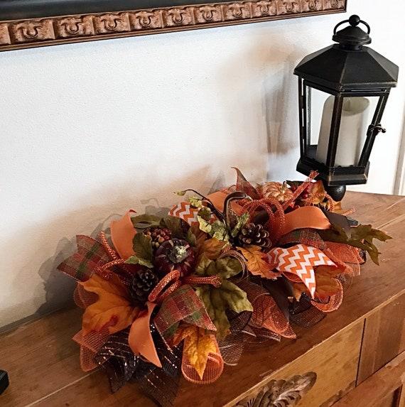15 Fall Deco Mesh Swagfall arrangementpinecone arrangementfall centerpieceOrange and brown fall arrangement