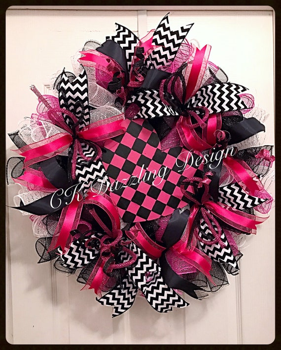 Valentine Hot Pink and Black Checkered Heart Deco Mesh WreathValentine WreathHot Pink and Black Valentine WreathValentine Heart Wreath