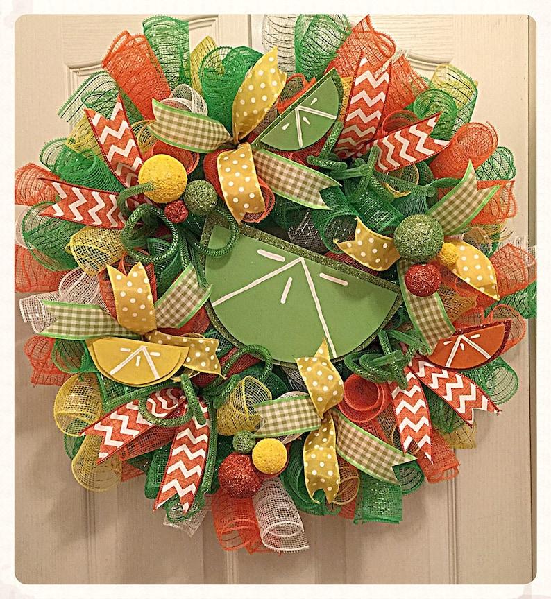 Citrus Sherbet Deco Mesh WreathLime and Orange WreathSummer WreathEveryday WreathLemon and Lime Wreath