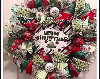 Whimsical Merry Christmas deco mesh wreath/Merry Christmas wreath/grinch wreath/Red and lime wreath