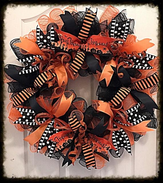 Halloween Orange and Black Deco Mesh Wreath/Halloween