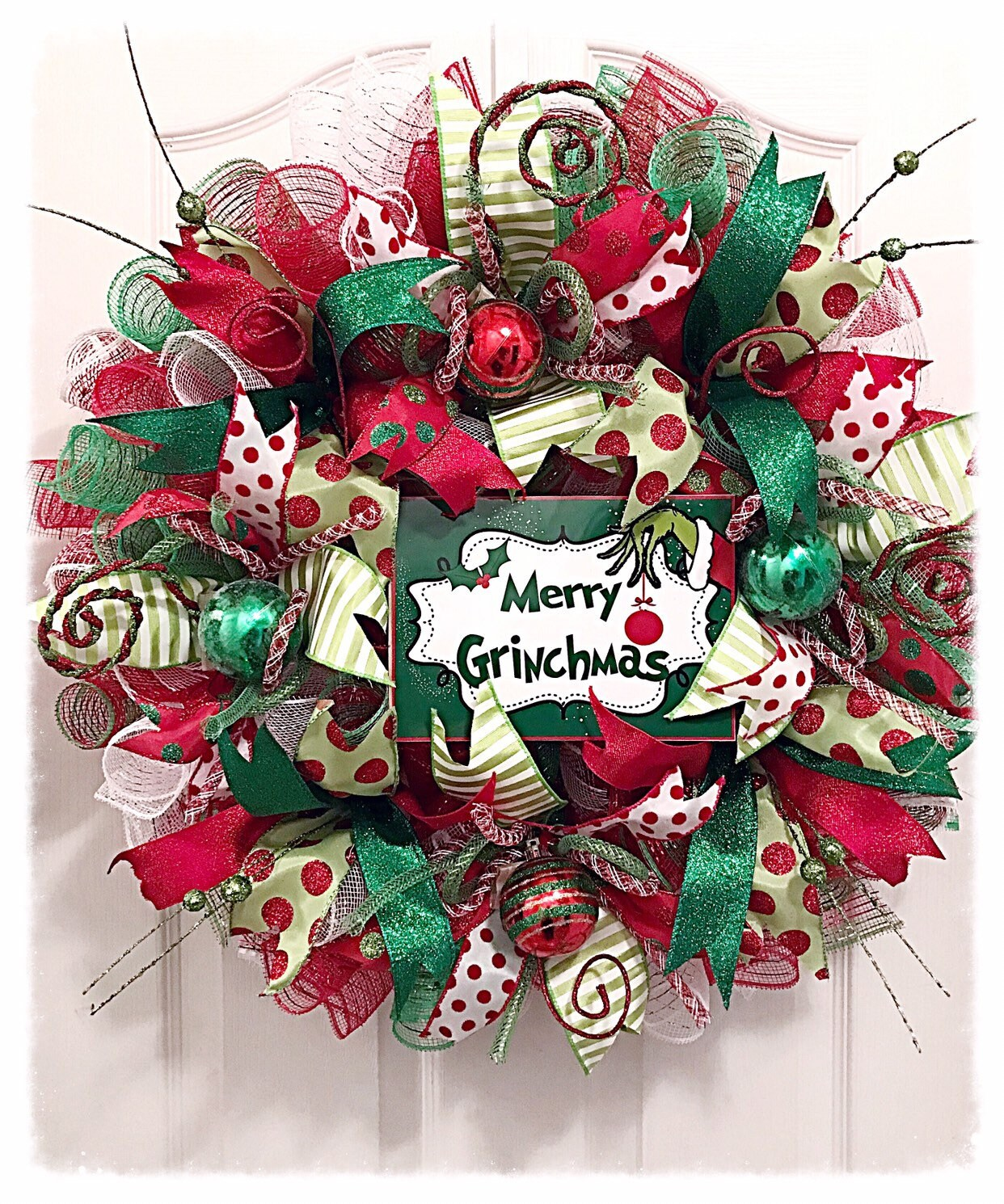 Merry Grinchmas Deco Mesh Wreath/Grinch Wreath/Red White and   Etsy