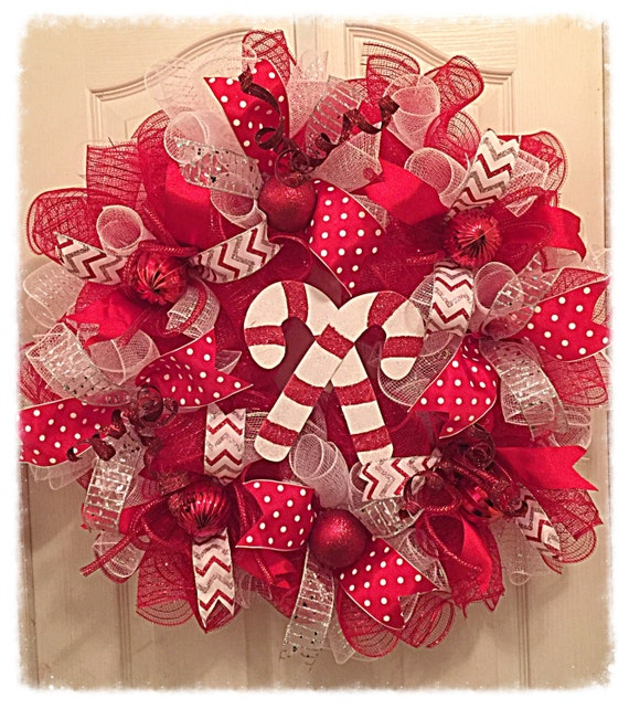Candy Cane Deco Mesh Wreathchristmas Wreathred Silver And Etsy