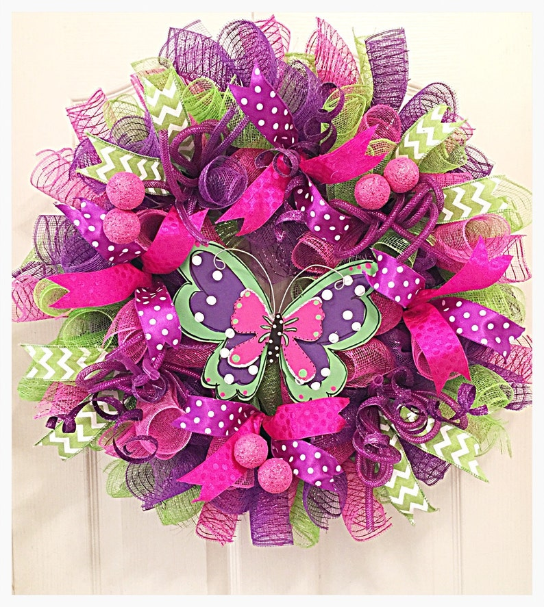 Butterfly Deco Mesh WreathMothers Day WreathPurple Pink and Lime Butterfly WreathSpring and Summer Butterfly Wreath