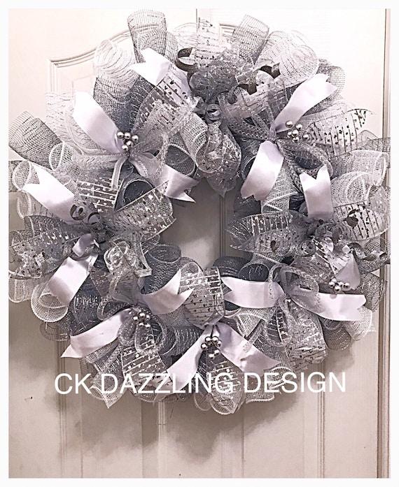 Silver White Wedding Deco Mesh Wreath Wedding Wreath Silver Etsy