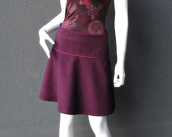 Skirt, tweed skirt, wool skirt, winter skirt bordeaux