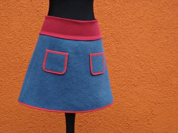 Sortendesign neu billig Luxusmode Walkrock jeans blue red wool skirt winter rock skirt with small pockets  warm skirt with lining winter skirt wool skirt with lining blue red