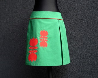 Red rock TULIP GIRL green with Red Lady rock application skirt women green