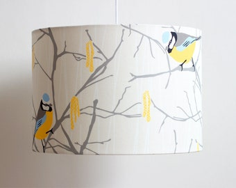 Bluetit and catkin lampshade