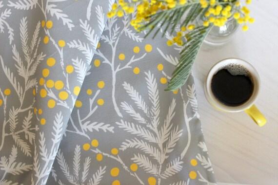 Mimosa tea towel - floral tea towel, floral fabric, kitchen decor, kitchen textiles, yellow and grey fabric, grey kitchen towel