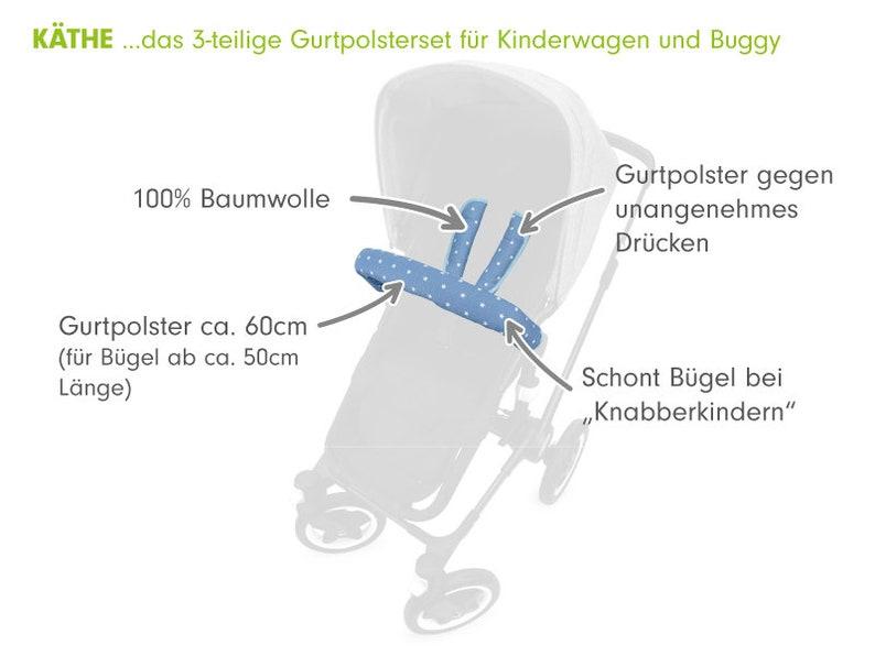 Priebes K/äthe 3-teilige Gurtpolsterset Buggy Kinderwagen Design:stars grau