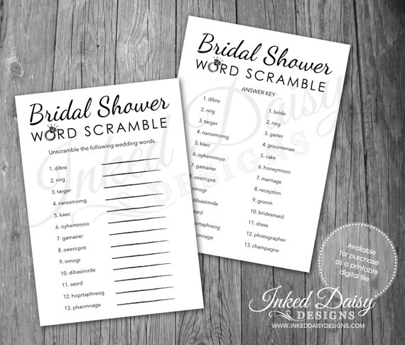 INSTANT DOWNLOAD Bridal Shower Word Scramble Game, Wedding Game, Word Scramble, Shower Game, Bling Game, Wedding Game, Digital Download