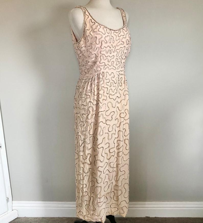 Fabulous Vintage 60\u2019s Diamonds /& pearls beaded gown Sz
