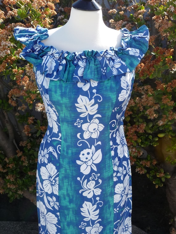 Vintage Tiki Hostess gown Hawaiian 40's 50's Pake-