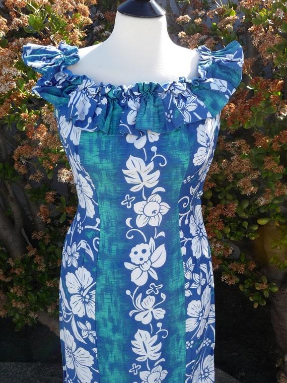 Vintage Tiki Hostess gown Hawaiian 40's 50's Pake-
