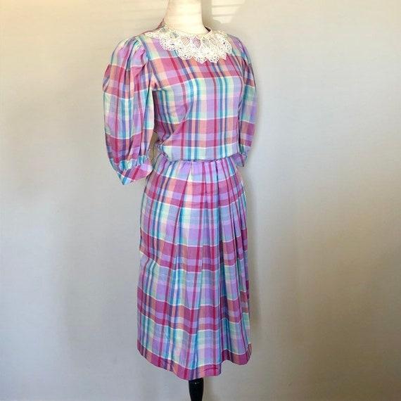 Vintage 80's Rainbow Plaid lace trim Day Dress Sz