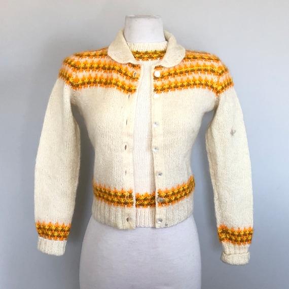 "Vintage 50's Fair Isle Knit Sweater Set Sz 36"" B"