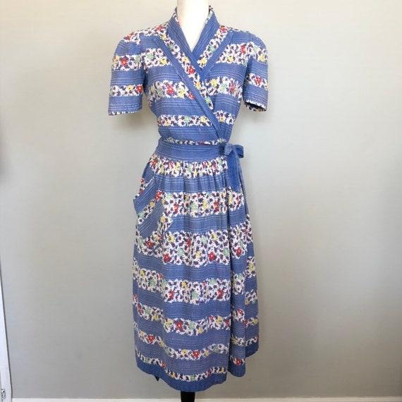 Vintage 1930's  Border Print Cotton Day Dress Sz 3