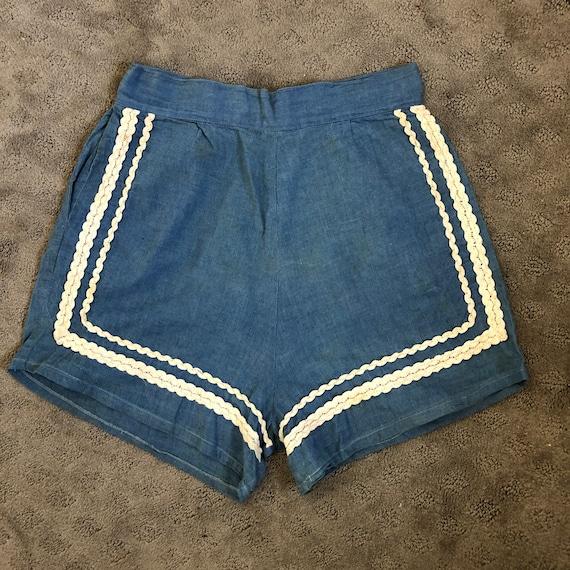 Vintage 1940's Chambray Denim high waist back zip