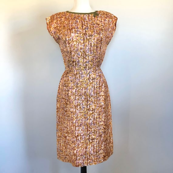 Vintage 50's 60's Abstract Print Sexy Wiggle Dress