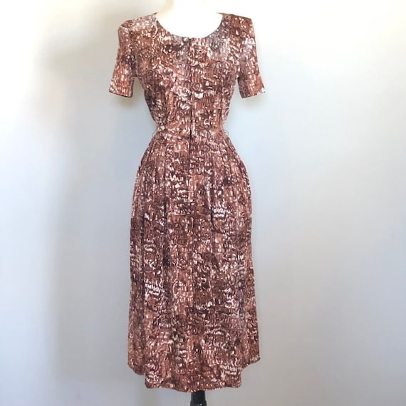 Vintage 40's Abstract Print Jersey Day Dress Sz 28
