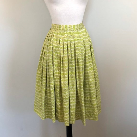 Vintage 1940's Chartreuse Novelty Print lightweigh