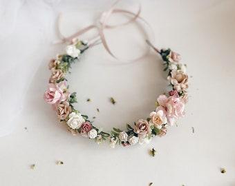 Testa Gioielli Per matrimonio//comunione//ragazze fiori rosa//crema