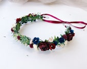 Navy and maroon floral headband, navy blue ivory and burgundy flower crown , navy blue and maroon hair flowers, Burgundy and greenery Fall B