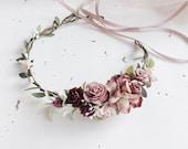 Dusty Rose Burgundy and Ivory Flower Crown. Deep red flower crown. Burgundy flower crown. Dusty Pink headpiece. Wine flower crown. Pink flor